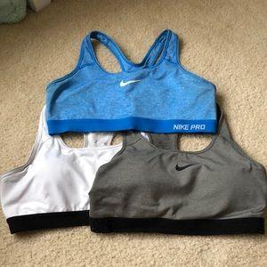 Set of 3 Nike pro bras